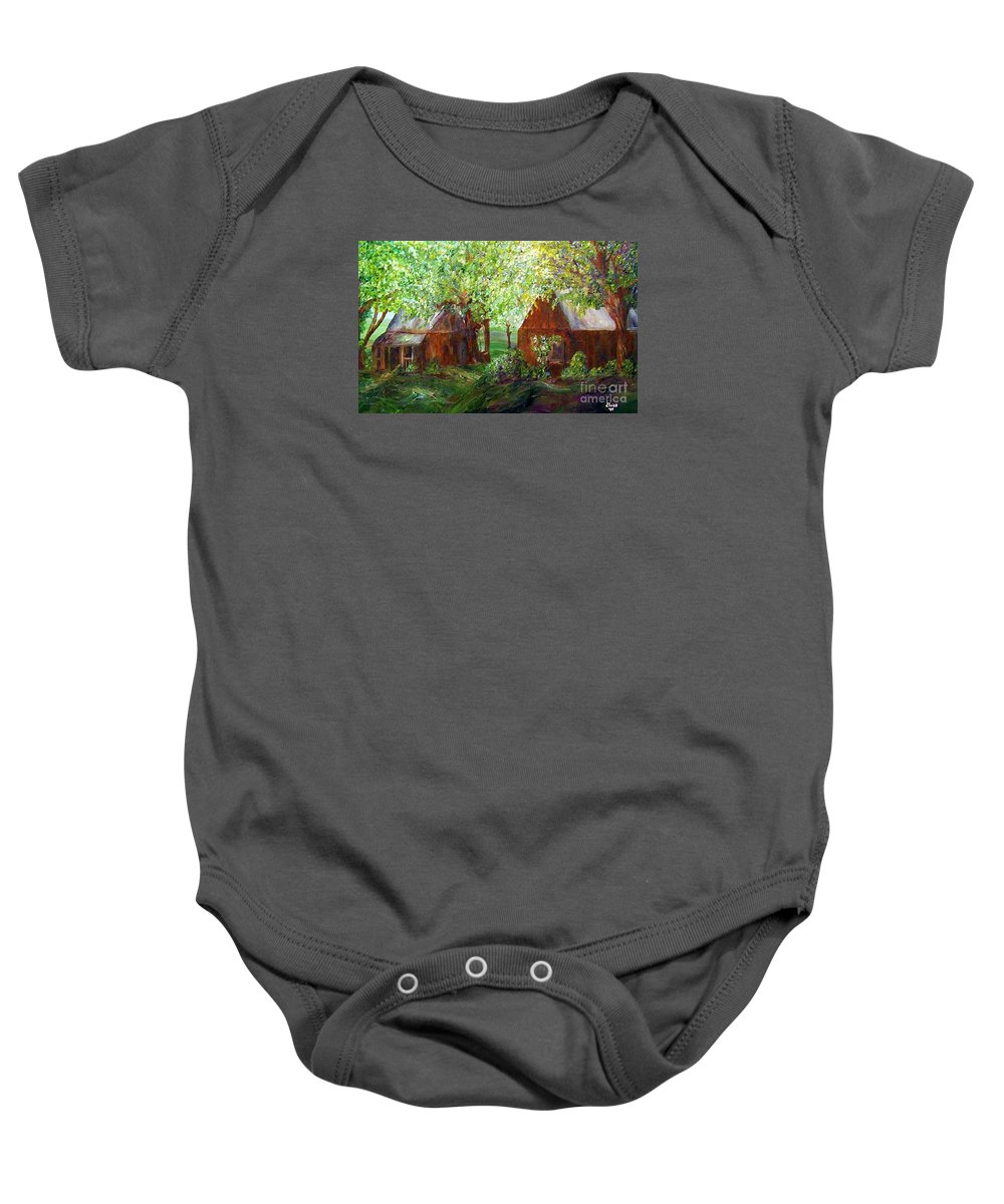 Landscape Baby Onesie featuring the painting The Old Swing  by Eloise Schneider Mote
