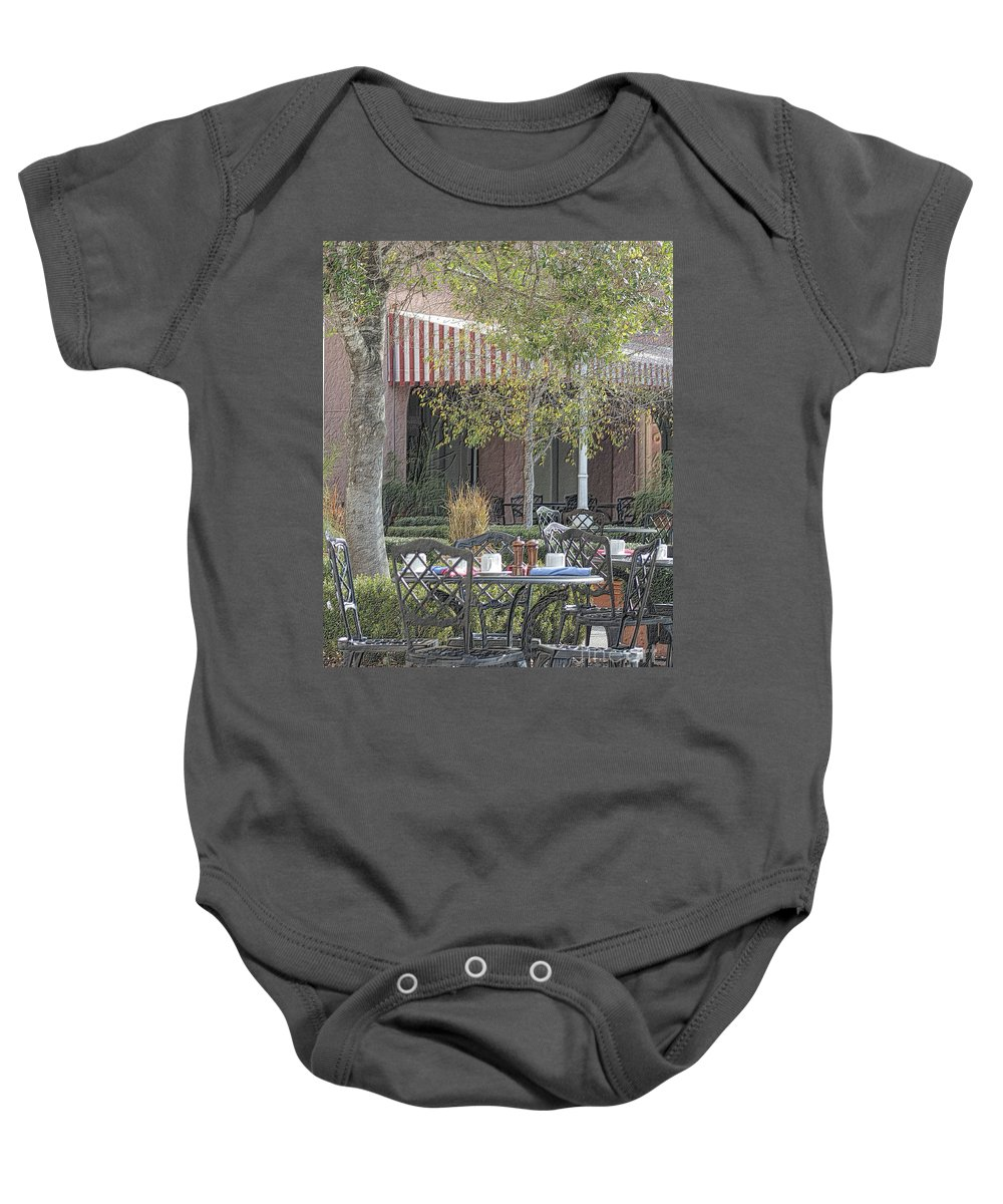 Caf� Baby Onesie featuring the photograph The Outdoor Cafe by Christy Gendalia