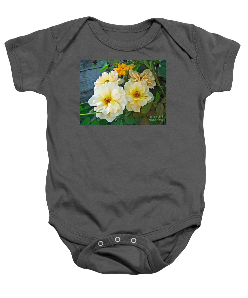 Rose Baby Onesie featuring the photograph The Palest Yellow Just Like Lemon Sherbet by Mother Nature