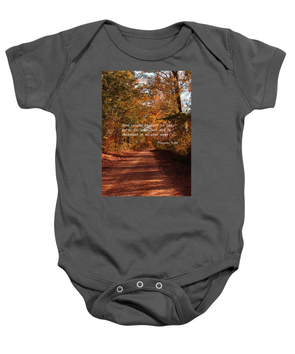 Path Baby Onesie featuring the photograph The Path Less Traveled by Karen Beasley