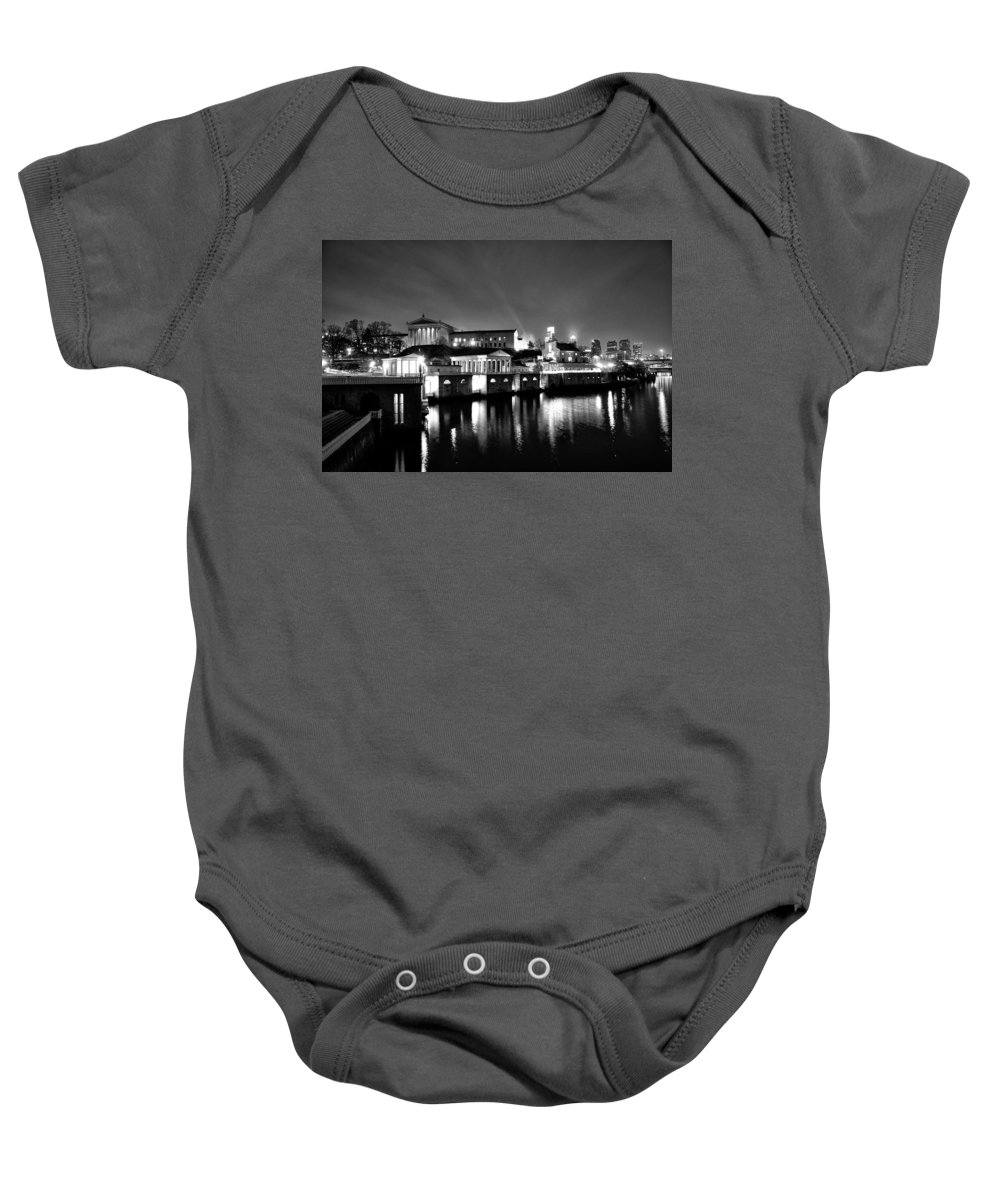 Philadelphia Baby Onesie featuring the photograph The Philadelphia Waterworks In Black And White by Bill Cannon