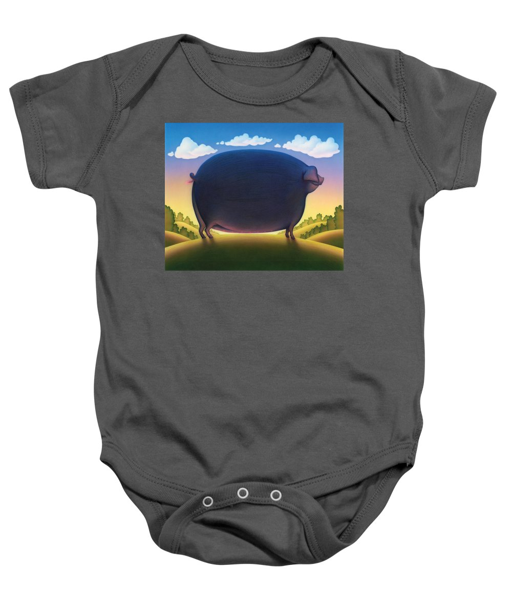 Andrew Farley Baby Onesie featuring the photograph The Pig by Andrew Farley