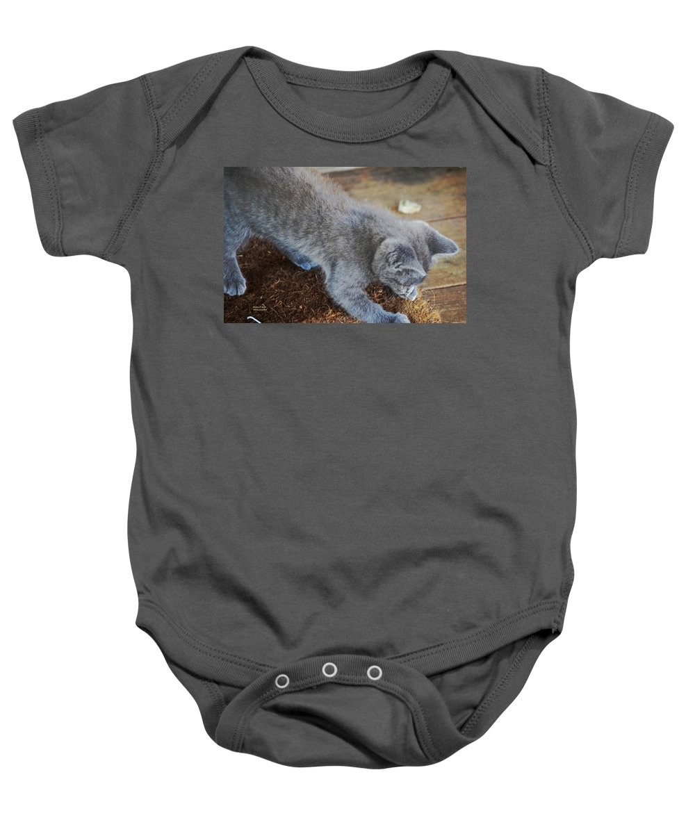 Playful Baby Onesie featuring the photograph The Playful Kitten by Maria Urso