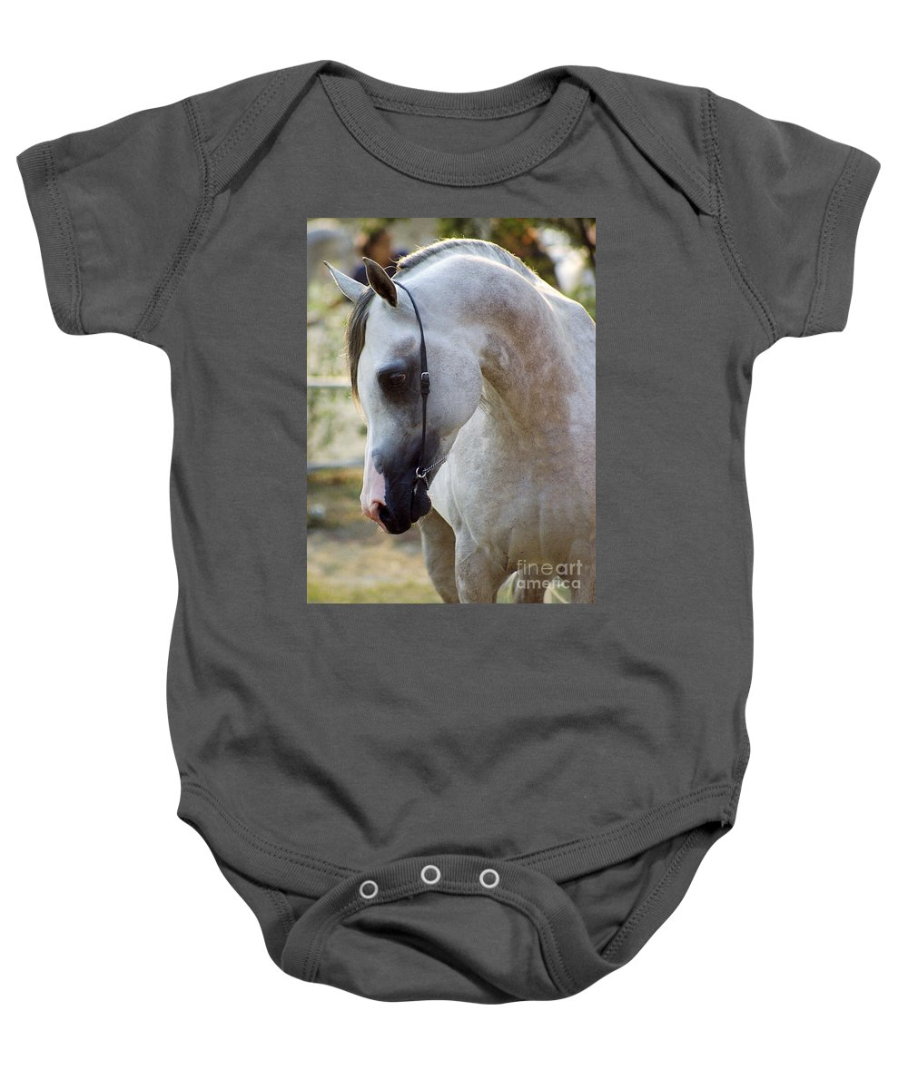 Horse Baby Onesie featuring the photograph The Polish Arabian Horse by Angel Ciesniarska