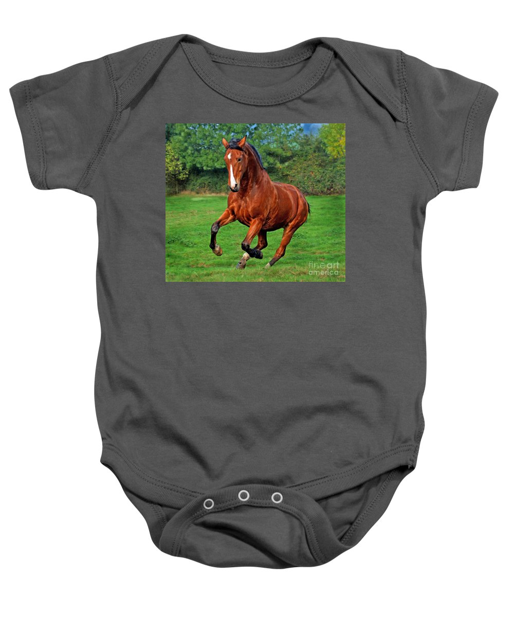 Horse Baby Onesie featuring the photograph The Pure Power by Angel Ciesniarska