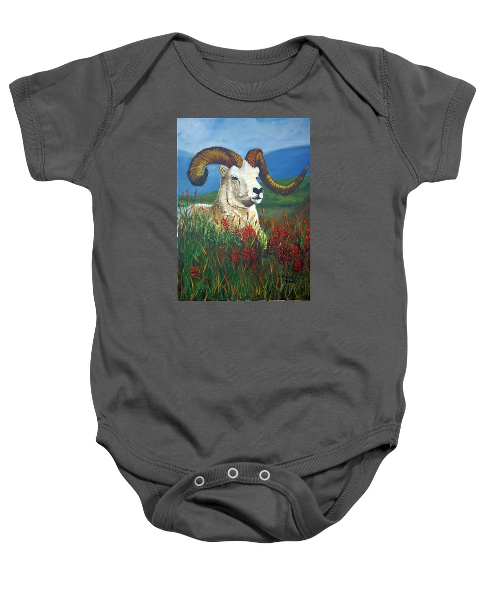 Animal Ram Landscape Baby Onesie featuring the painting The Ram by Esther Rivas