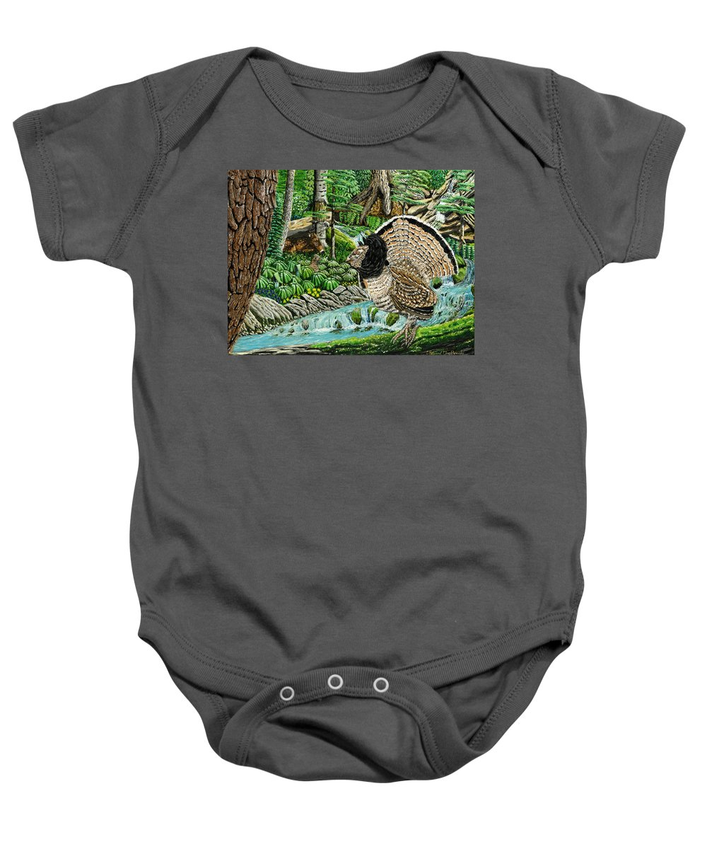 Landscape Baby Onesie featuring the painting The Real Thunder Bird by Carey MacDonald