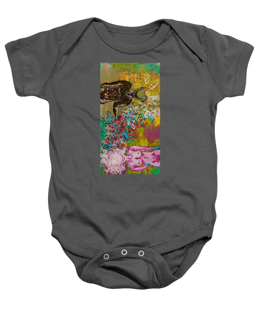 Woman Baby Onesie featuring the painting The Rules Of Attraction. by Ryanne Bevenger