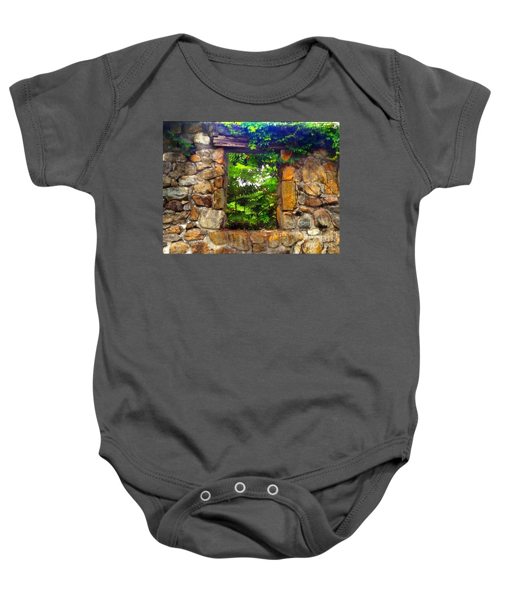 Secret Baby Onesie featuring the photograph The Secret Window 1 by Becky Lupe