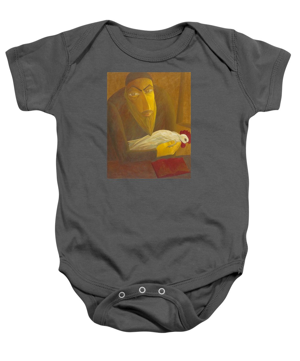 The Shochet With Rooster Baby Onesie featuring the painting The Shochet With Rooster by Israel Tsvaygenbaum