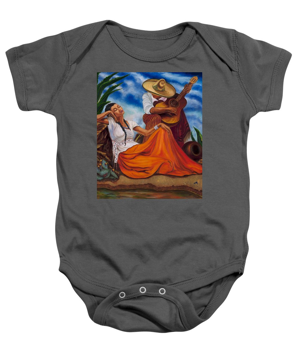 Singers Baby Onesie featuring the painting The Singers by Maria Gibbs