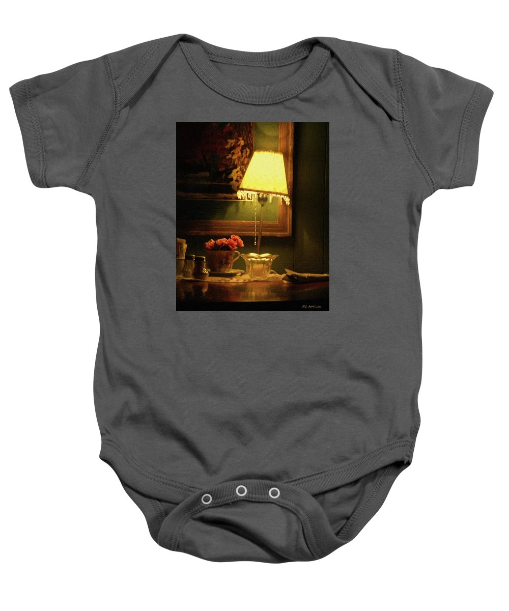 Lamp Baby Onesie featuring the painting The Stage Is Set by RC DeWinter