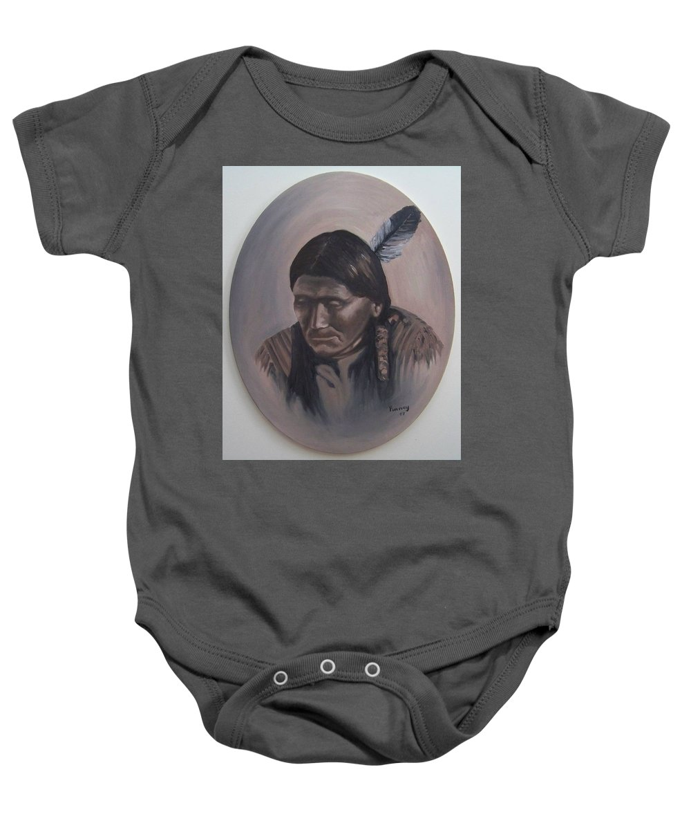 Michael Baby Onesie featuring the painting The Story Teller by Michael TMAD Finney