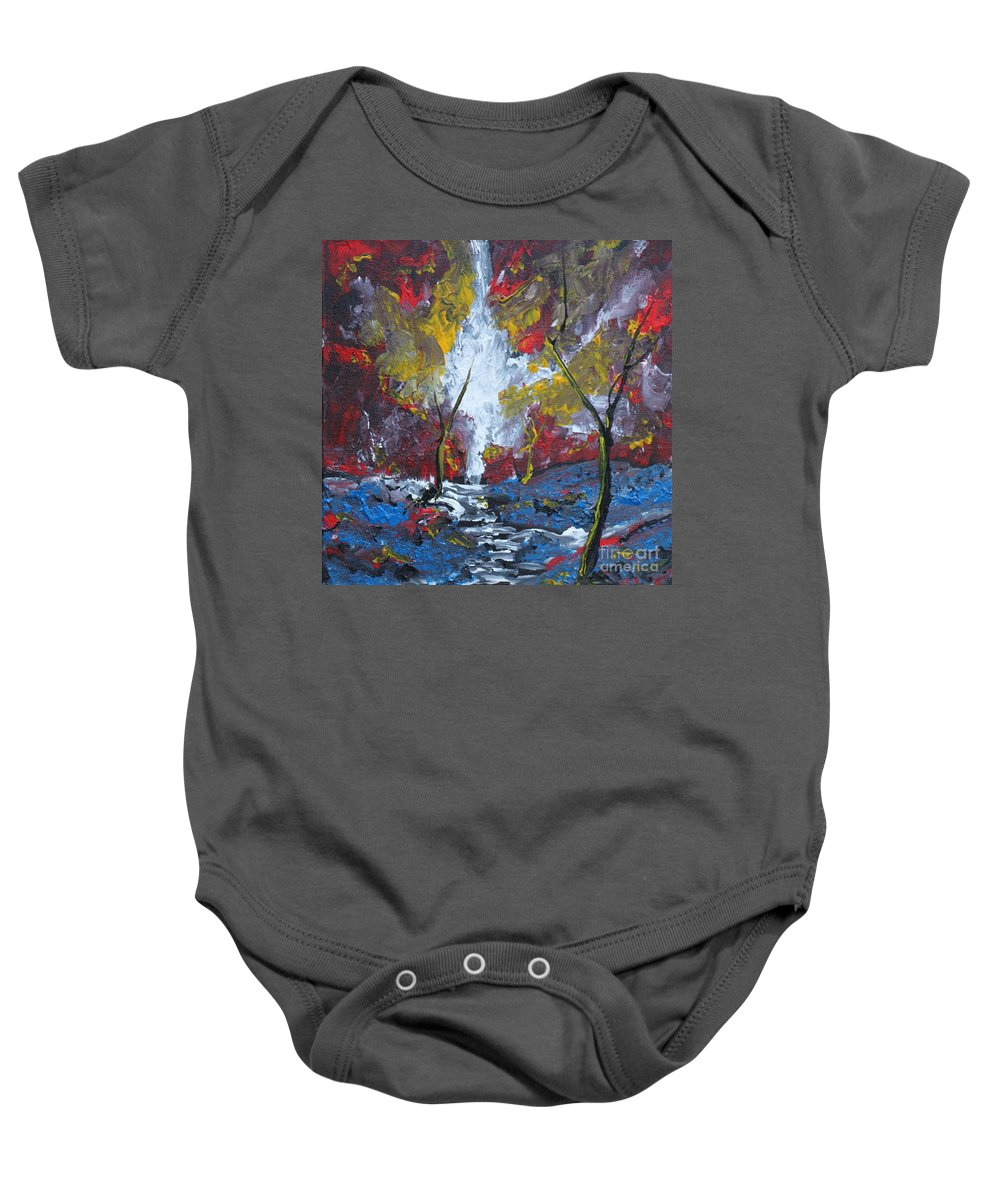Landscape Baby Onesie featuring the painting The Stream Of Light by Stefan Duncan