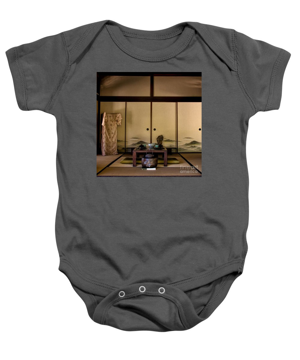 Japanese Garden Baby Onesie featuring the photograph The Tea Room by Peggy Hughes