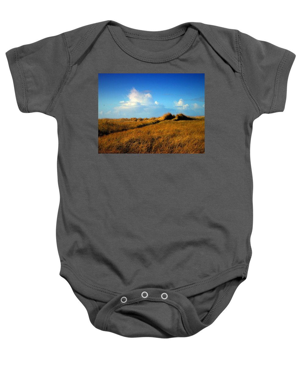 Grass Baby Onesie featuring the photograph The Trail Through The Grass by Joyce Dickens