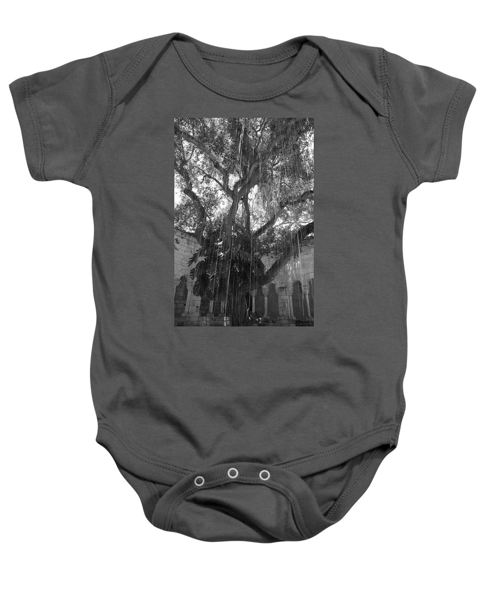 Black And White Baby Onesie featuring the photograph The Tree Vines by Rob Hans