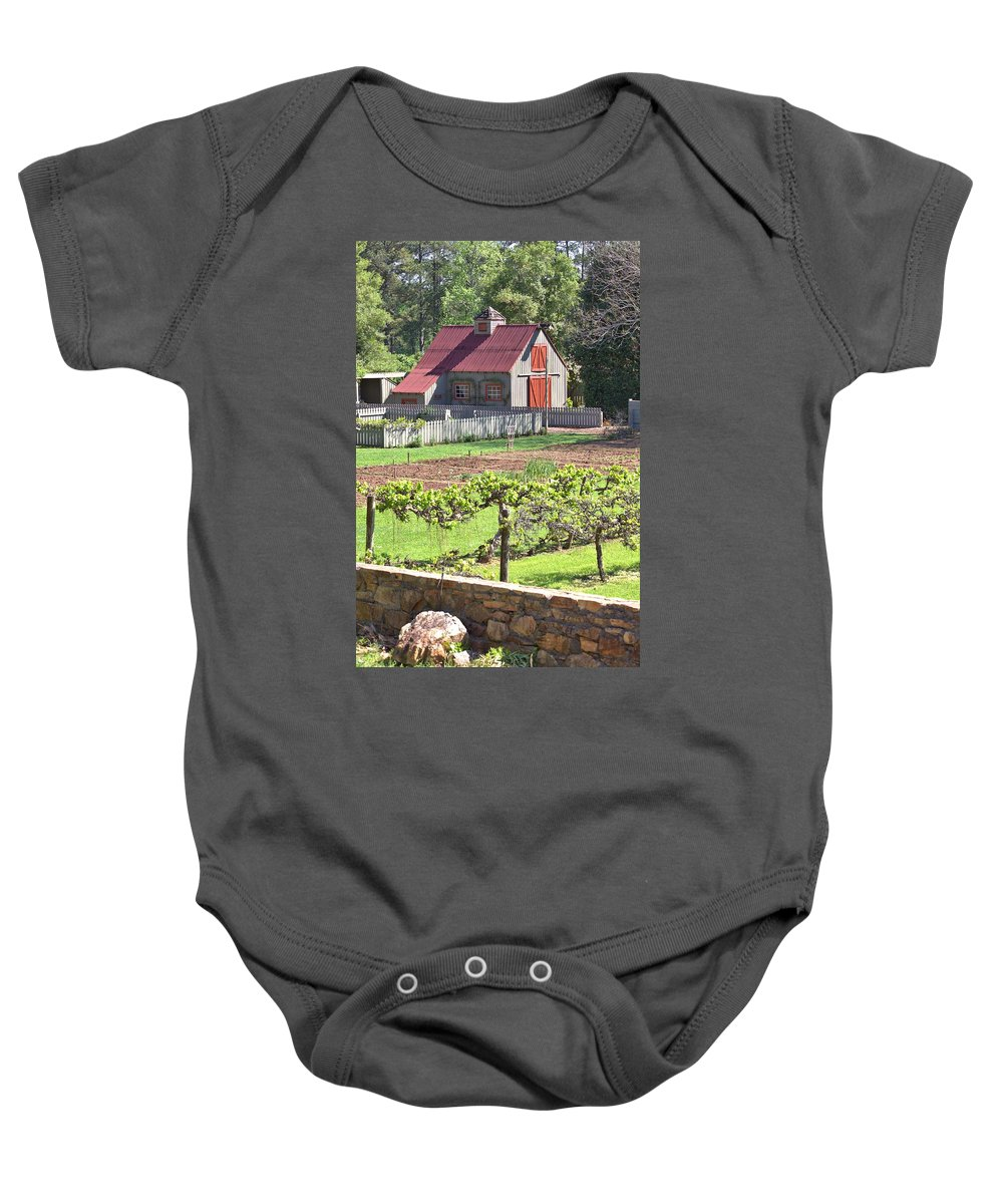 8316 Baby Onesie featuring the photograph The Vineyard Barn by Gordon Elwell