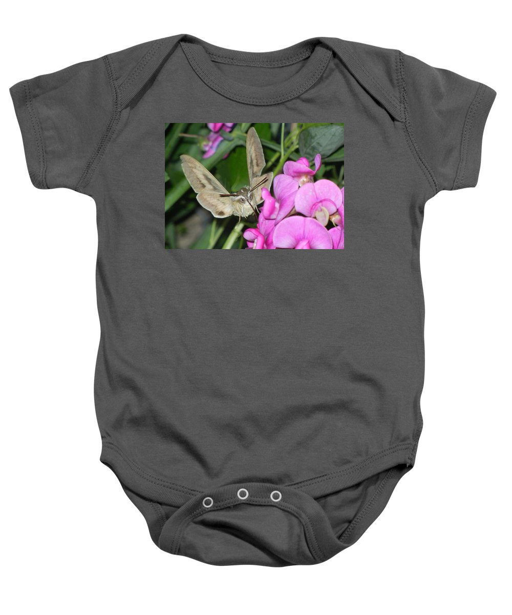 Hummingbird Baby Onesie featuring the digital art The Visitor by Bobbie Barth