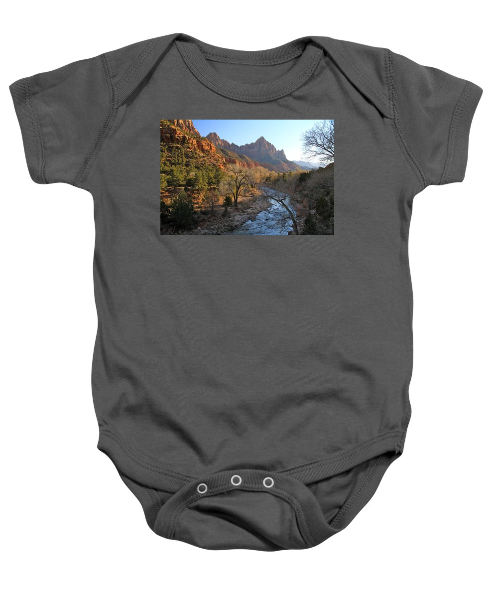 Mountains Baby Onesie featuring the photograph The Watchman by Ed Riche