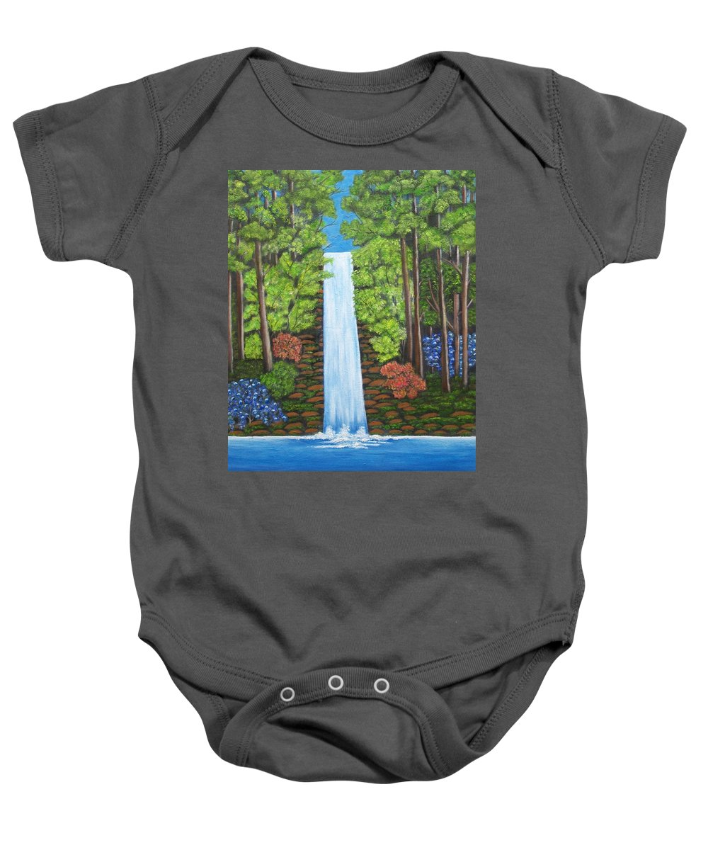 Landscapes Baby Onesie featuring the painting The Waterfall by Brenda Drain