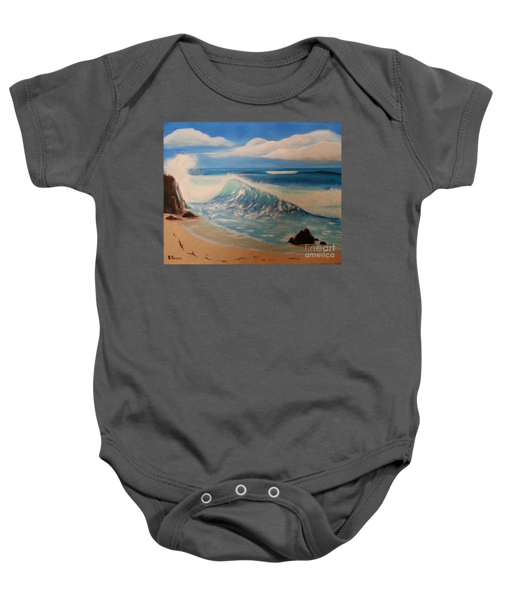 Wave Baby Onesie featuring the painting The Wave by Bev Conover