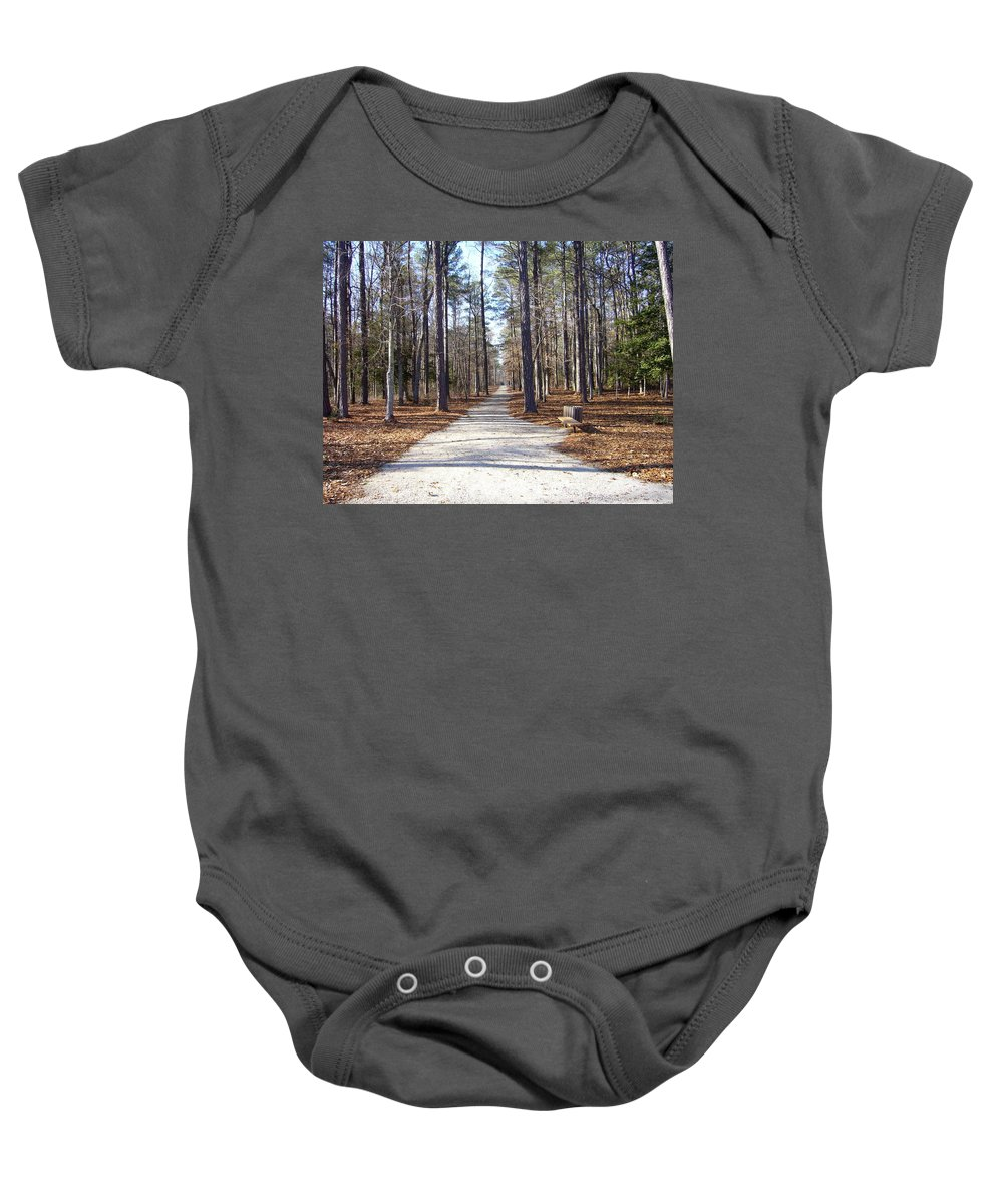 Sunny Day Trees Shadows Clear Baby Onesie featuring the photograph This Way by Yow-Ning Chang