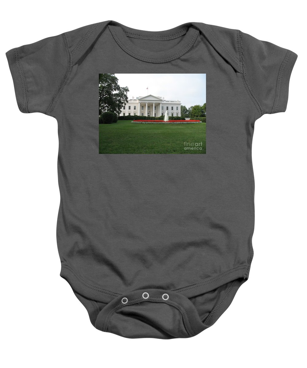 White House Baby Onesie featuring the photograph The White House - Washington D C by Christiane Schulze Art And Photography
