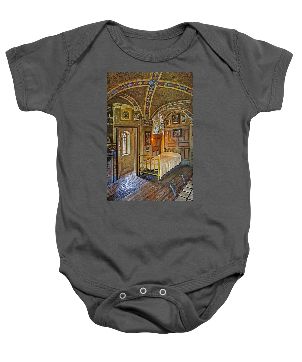 Byzantine Baby Onesie featuring the photograph The Yellow Room At Fonthill Castle by Susan Candelario