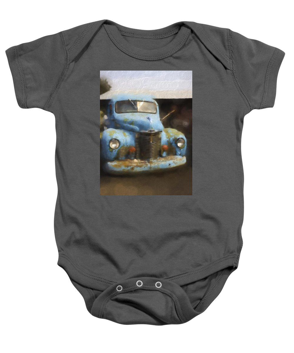 Baby Onesie featuring the digital art This Old Truck 13 by Cathy Anderson