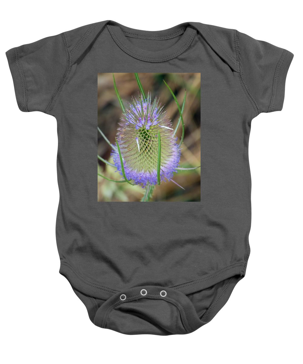 Thistle Baby Onesie featuring the photograph Thistle by Monique Morin Matson