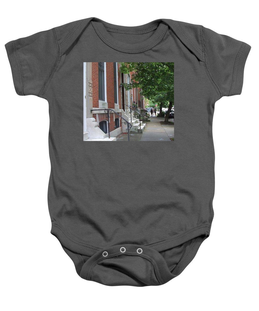 Three Friends Walk Baby Onesie featuring the photograph Three Friends In Baltimore by Susan Wyman