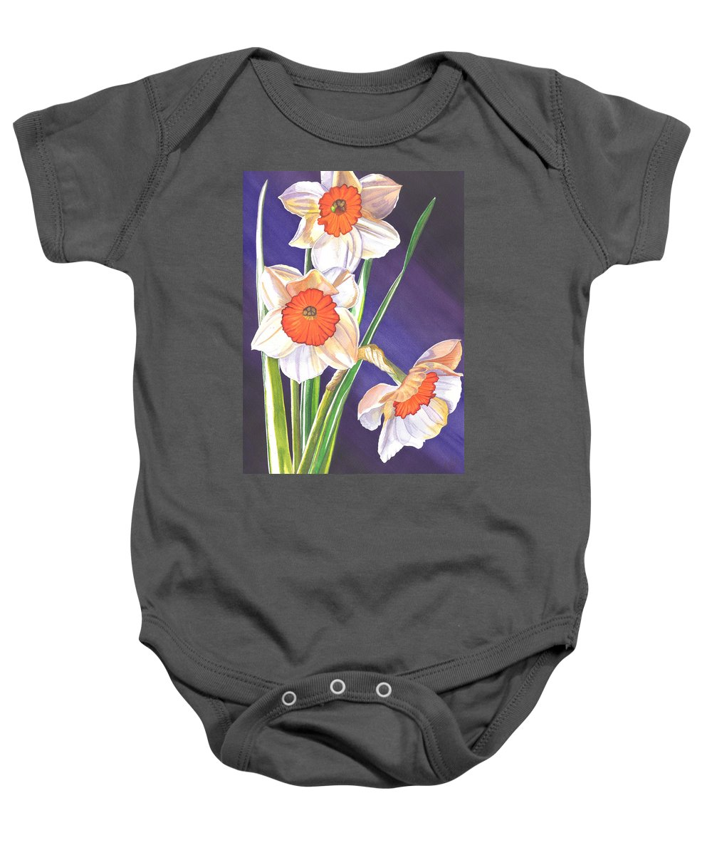 Daffodil Baby Onesie featuring the painting Three Jonquils by Catherine G McElroy