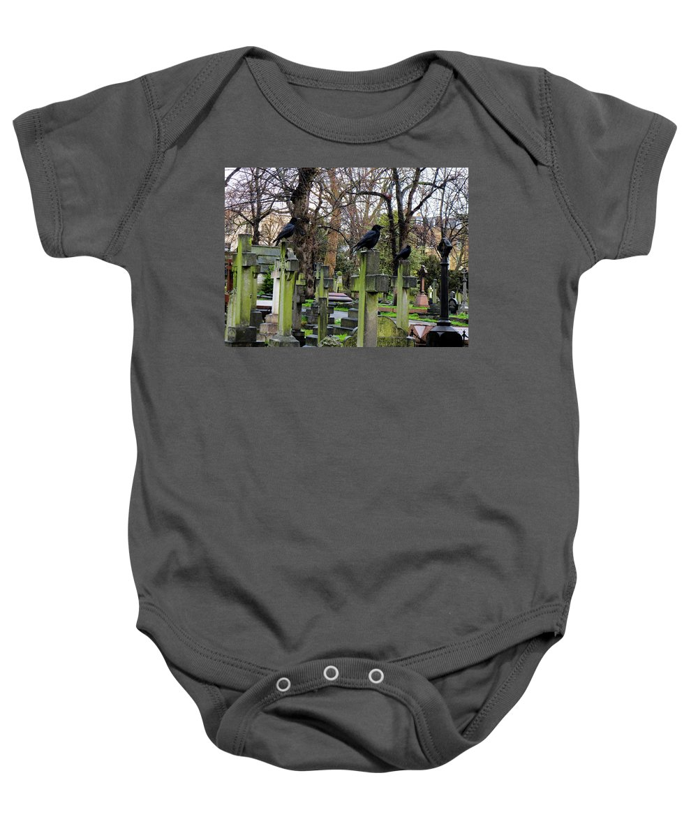 Brompton Cemetery Baby Onesie featuring the photograph Three Ravens by Gia Marie Houck