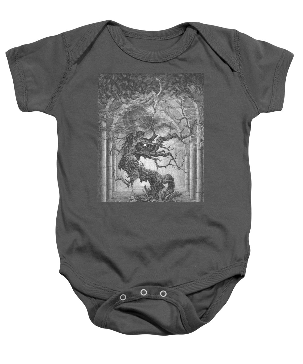 Graphics Baby Onesie featuring the drawing Through The Chimeras - To The Skies by Irina Sumanenkova