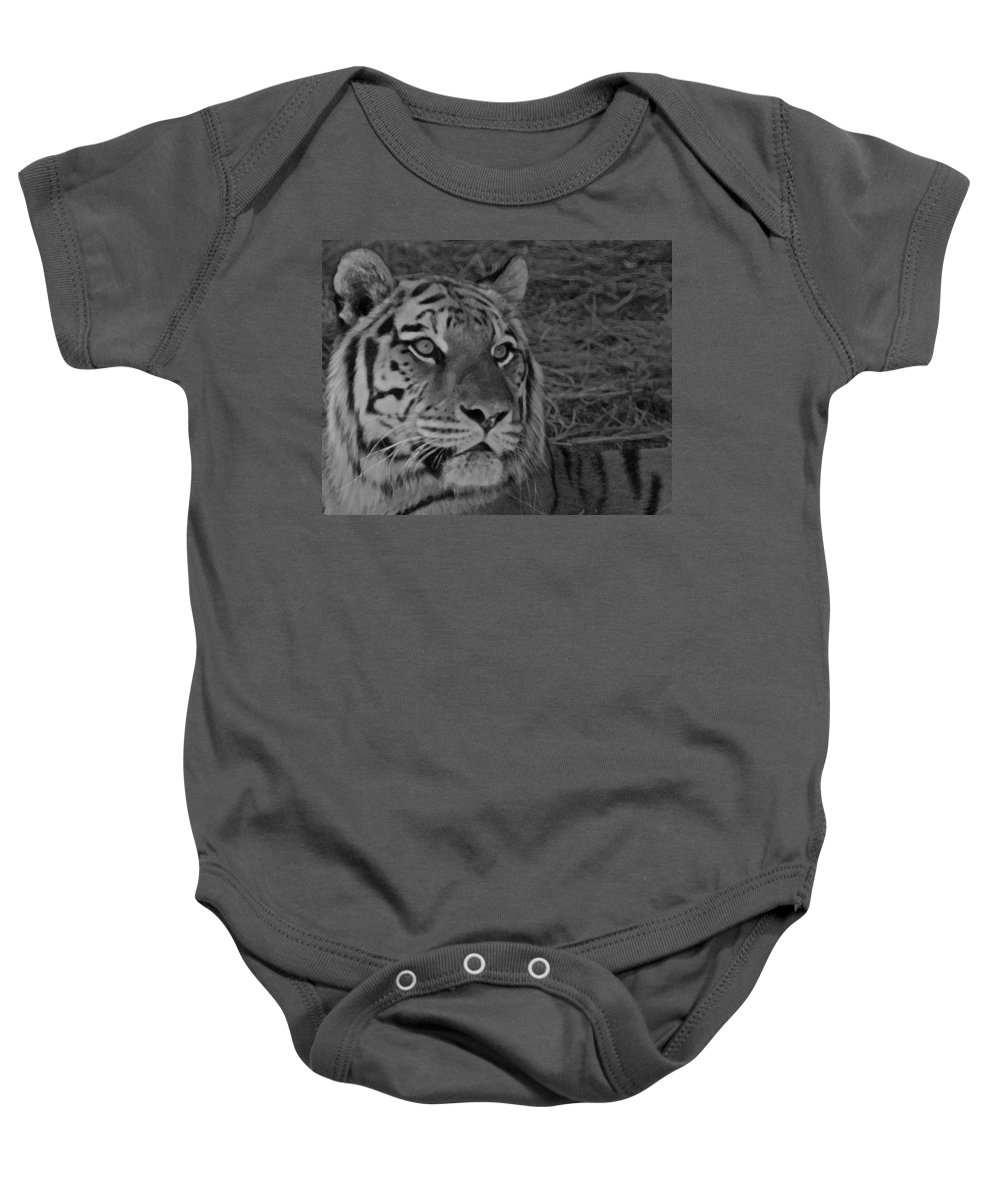 Tiger Baby Onesie featuring the photograph Tiger Bw by Ernie Echols