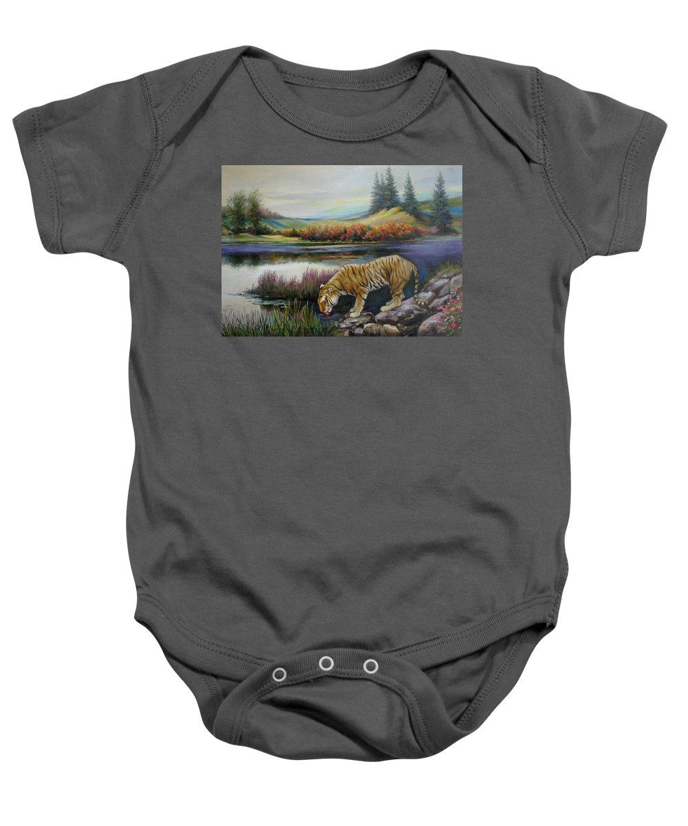 Siberian Tiger Baby Onesie featuring the painting Tiger By The River by Svitozar Nenyuk