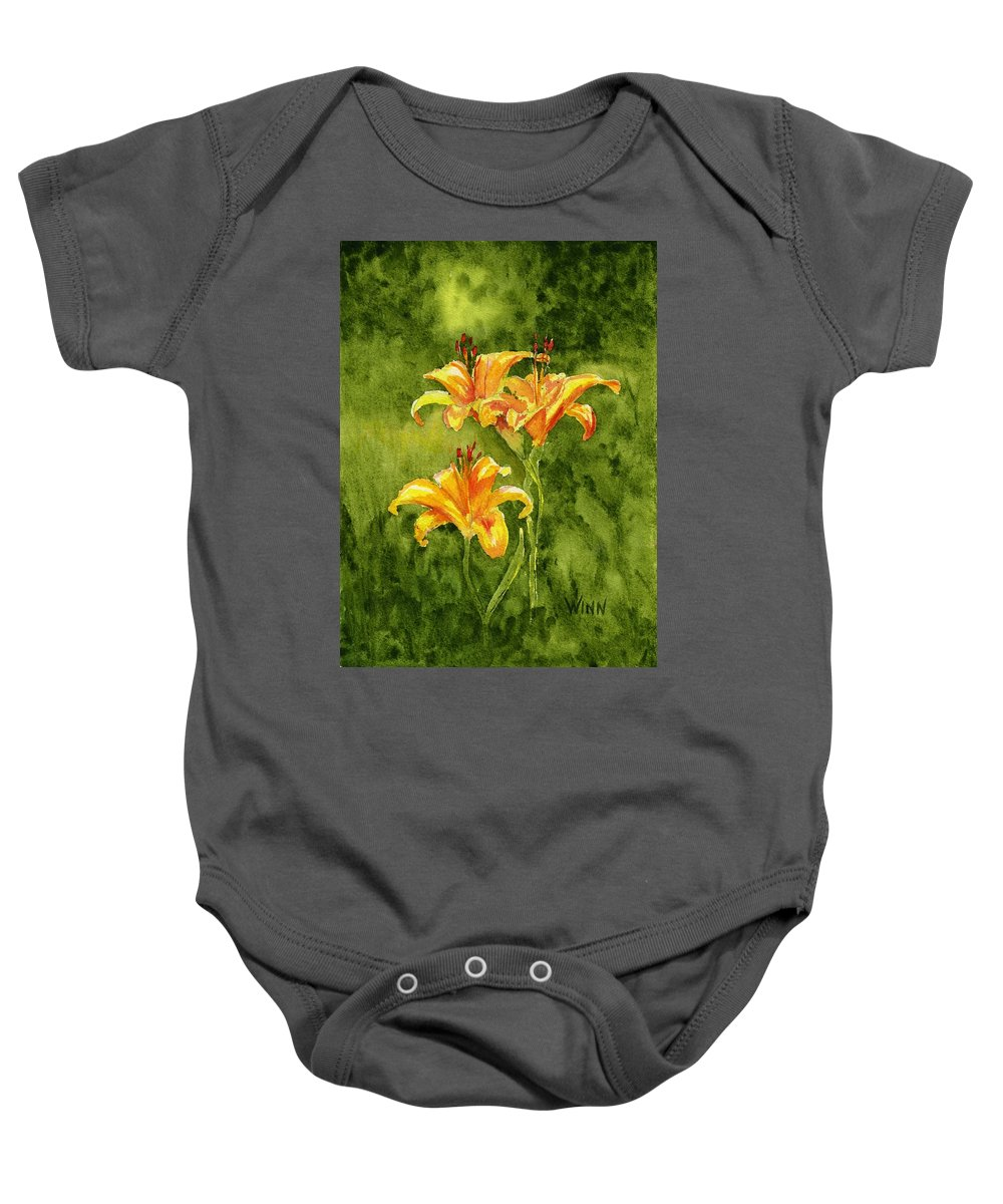 Floral Baby Onesie featuring the painting Tiger Lilies by Brett Winn