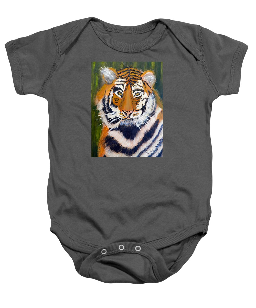 Impressionism Baby Onesie featuring the painting Tiger by Pamela Meredith