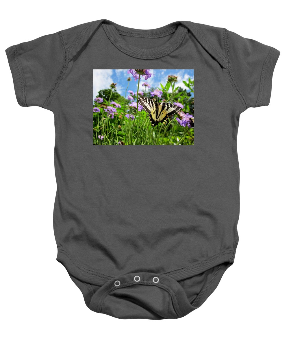 Tiger Swallowtail Butterfly Baby Onesie featuring the photograph Tiger Swallowtail On Pincushion Flowers by MTBobbins Photography