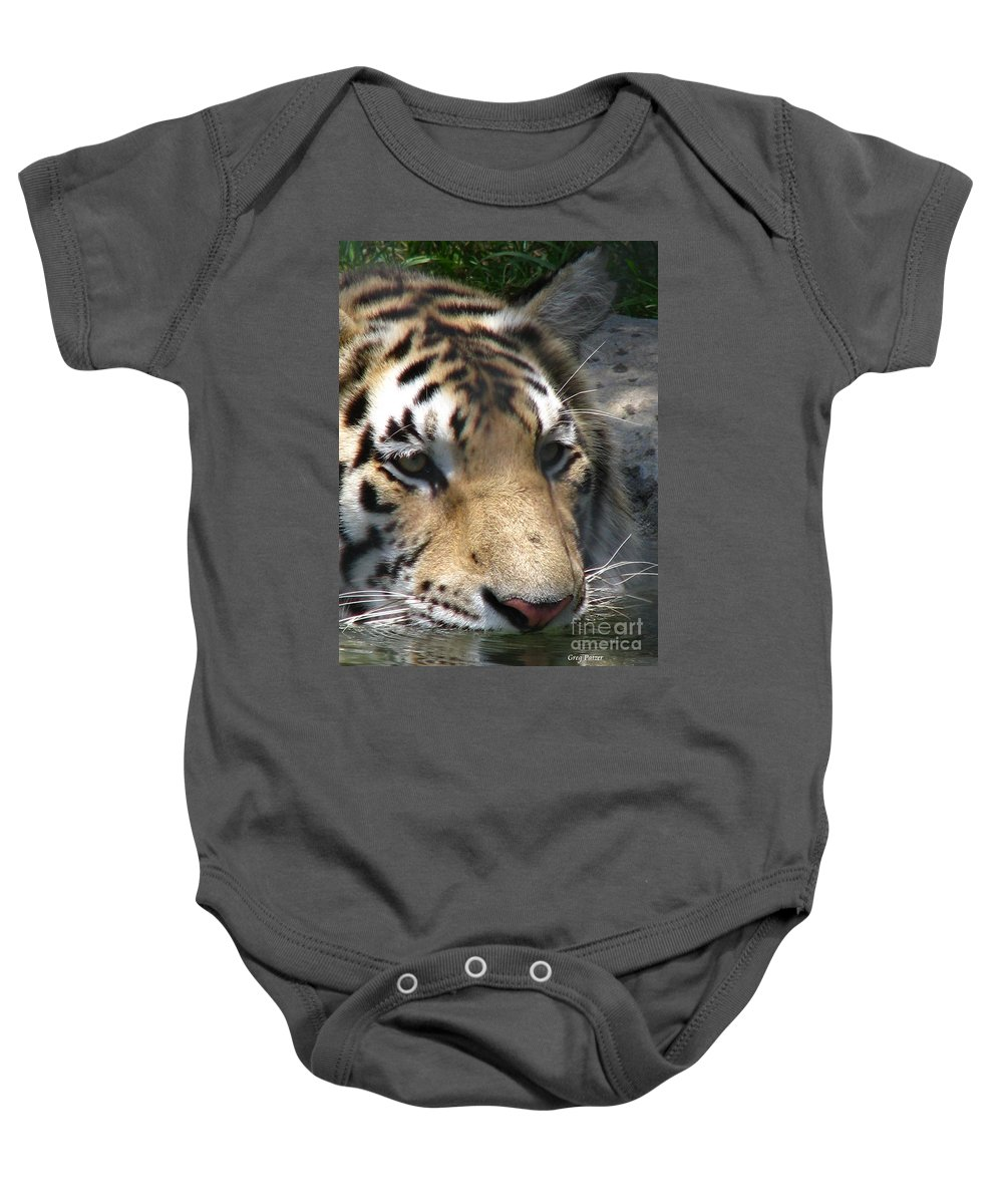 Patzer Baby Onesie featuring the photograph Tiger Water by Greg Patzer