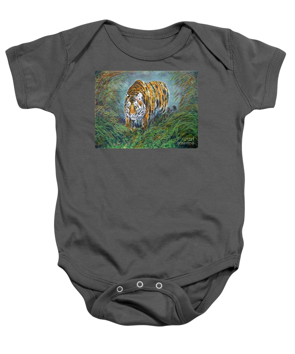 Tiger Baby Onesie featuring the painting Tiger by Zaira Dzhaubaeva