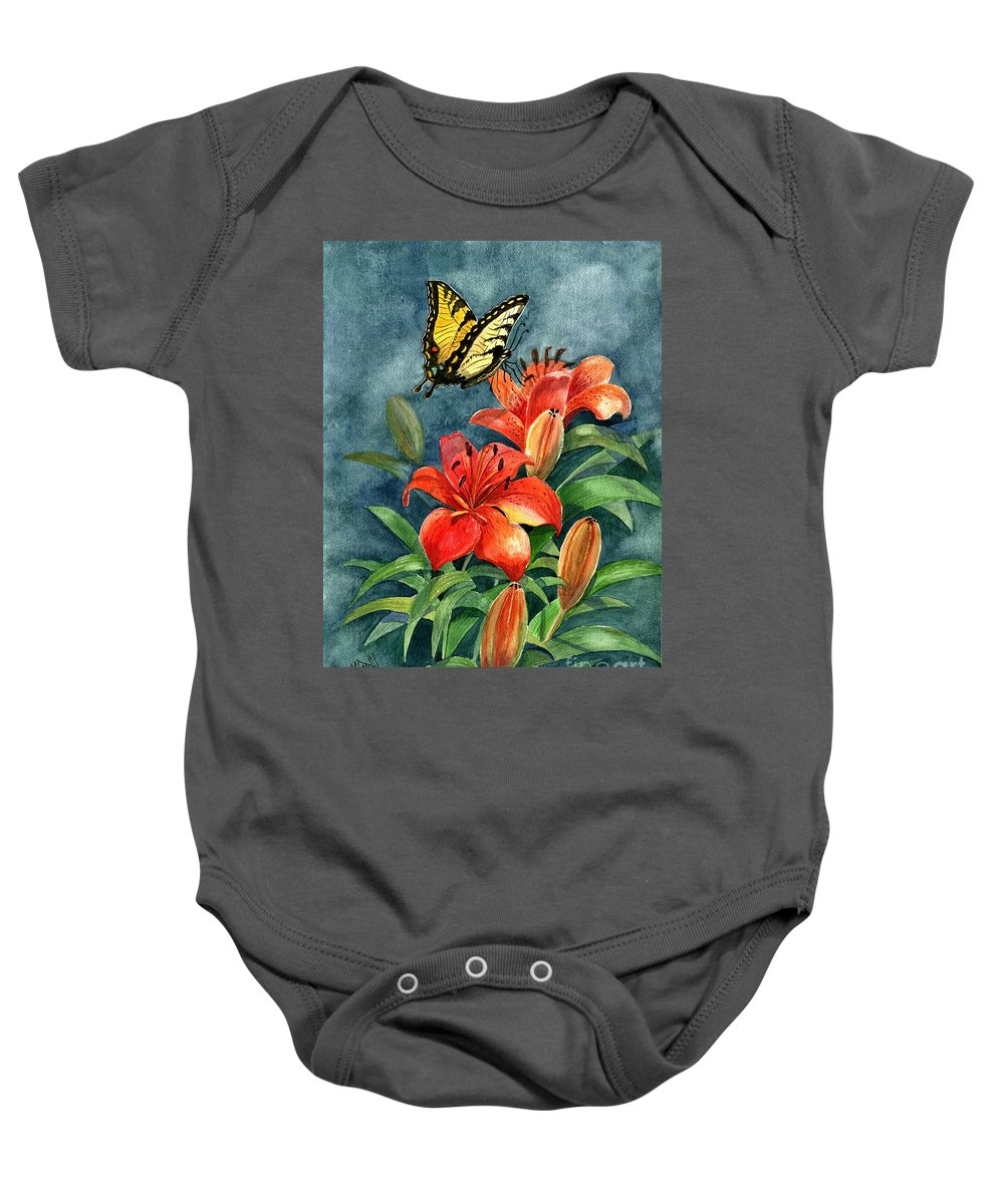 Butterflies Baby Onesie featuring the painting Tigers by Marilyn Smith