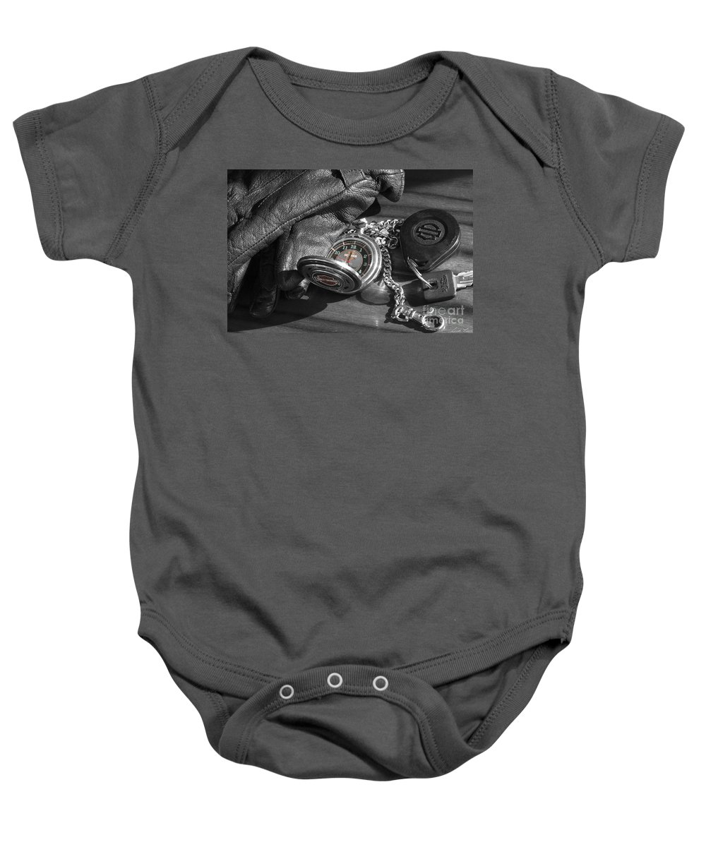 Harley Davidson Baby Onesie featuring the photograph Time For A Ride by Linda Lees