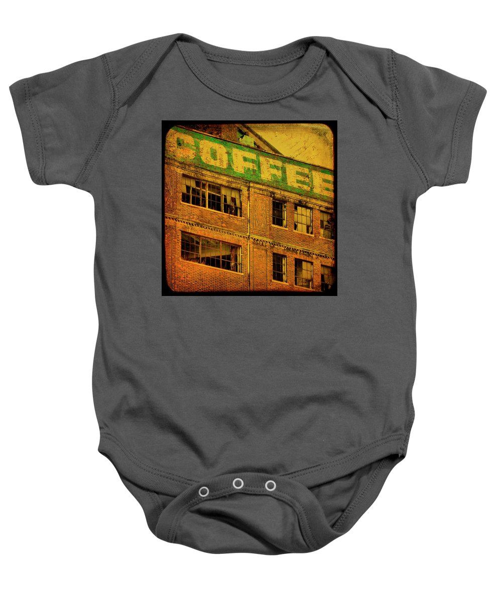 Urban Baby Onesie featuring the photograph Time For Coffee by Gothicrow Images