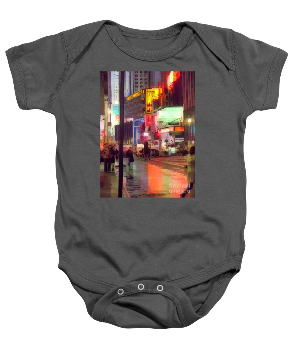 Rain Baby Onesie featuring the photograph Times Square With Runaway Horse by Miriam Danar