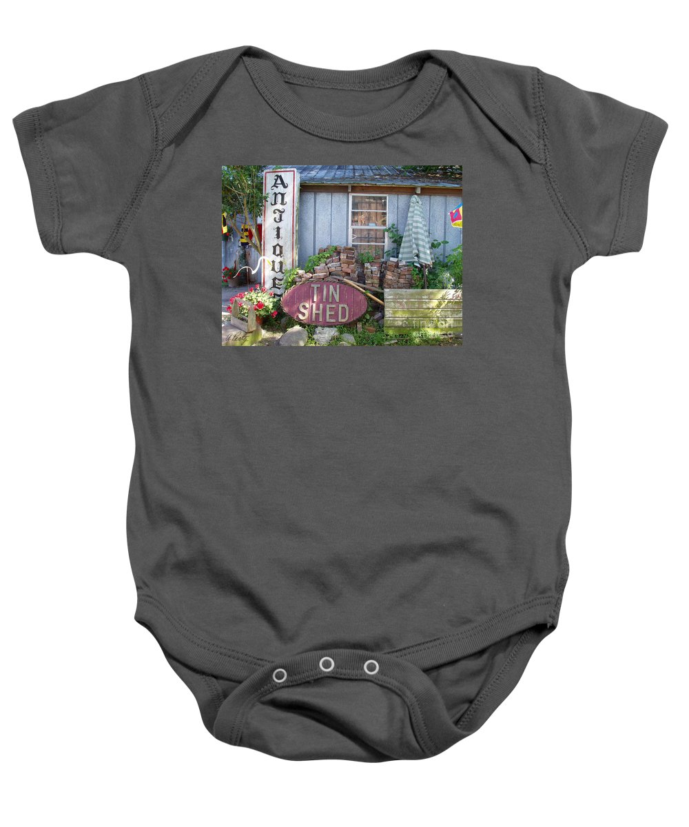 Antiques Baby Onesie featuring the photograph Tin Shed Apalachicola Florida by Audrey Peaty
