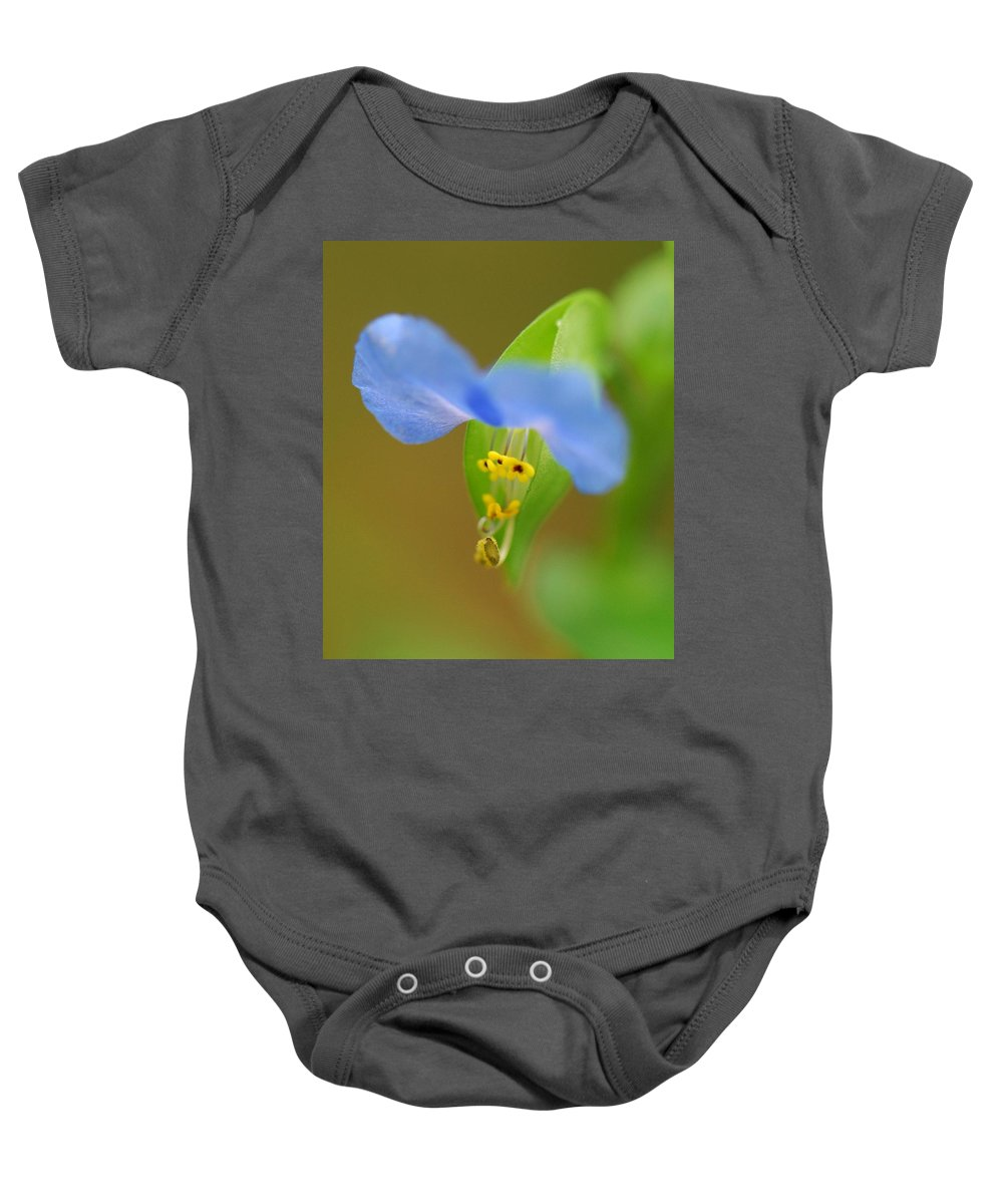 Flower Baby Onesie featuring the photograph Tiny Blue Flower by Amy Porter