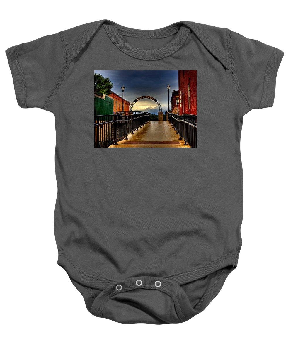 Waupaca Main Street Baby Onesie featuring the photograph To Main Street Waupaca by Thomas Young