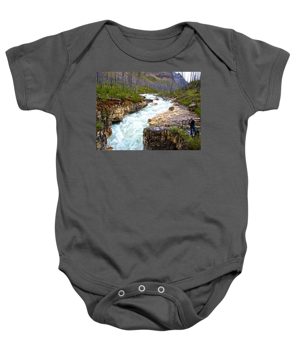 Tokuum Creek Flowing Into Marble Canyon In Kootenay Np Baby Onesie featuring the photograph Tokuum Creek Flowing Into Marble Canyon In Kootenay Np-bc by Ruth Hager